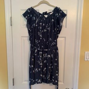 Navy Blue Pleated Neck Tie Waist Dress size L